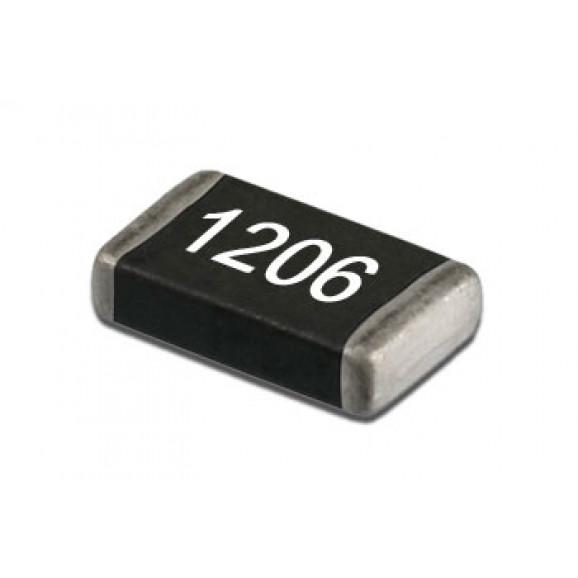 Resistor SMD 1206 de 1/10 de Watt com 5% de tolerância - 1R Ω à 150K Ω