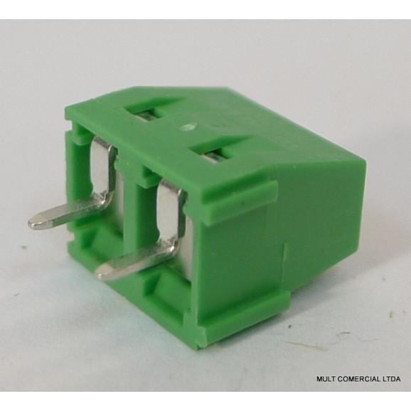 Conector Verde Multipolar AKZ250.02 Fixo de 2 vias - Passo 5,08mm - Phoenix Mecano