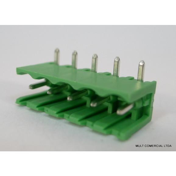 Conector Verde Multipolar STLZ950.05H Macho 90º (Horizontal) de 5 vias - Passo 5,08mm - Phoenix Mecano