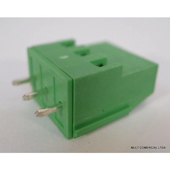 Conector Verde Multipolar AKZ700.03V Fixo de 3 vias - Passo 5,08mm - Phoenix Mecano