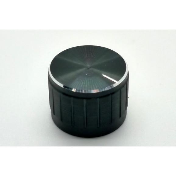 Knob de alumínio para potênciometro de eixo estriado - A23x17 - Preto