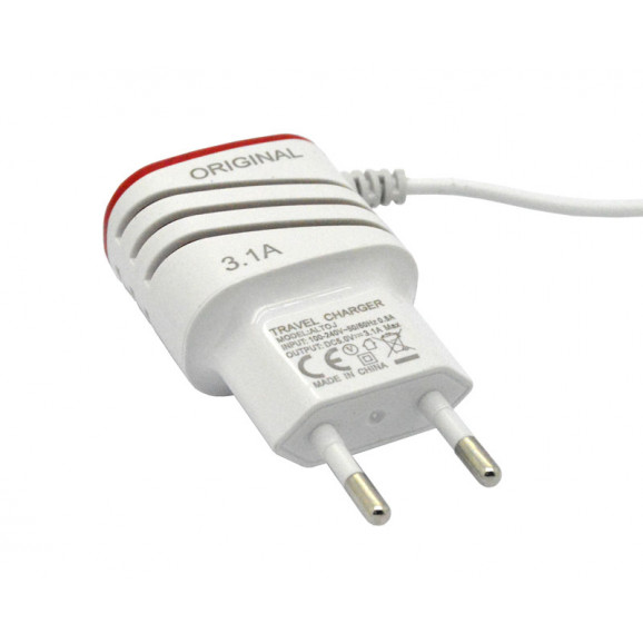 Carregador V8 Micro USB 5V 3.1A com 2 USB - FT-34