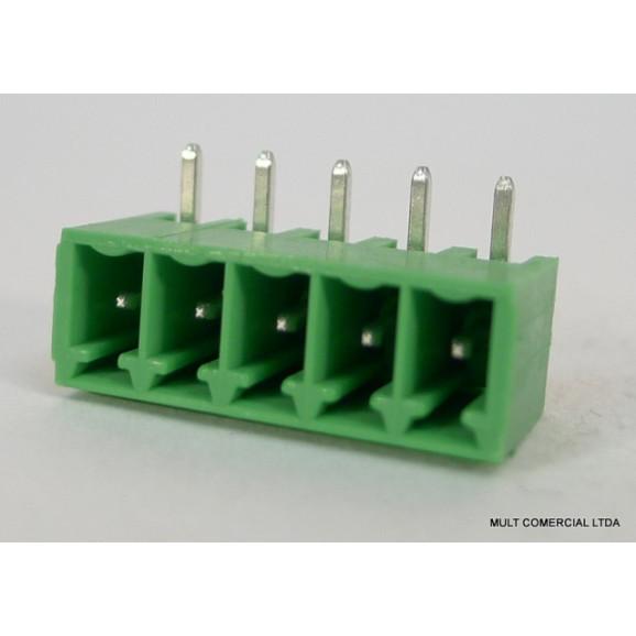 Conector Verde Multipolar STLZ1550.04GH Macho 90º de 4 vias com as laterais Fechadas - Passo 3,81mm - Phoenix Mecano