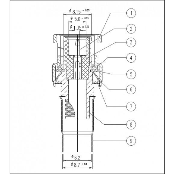 Conector BNC 50 OHMS Macho Reto Cabo Crimpagem RF 75 0.8/4.8 - LM-26 - Gav 66 - KLC