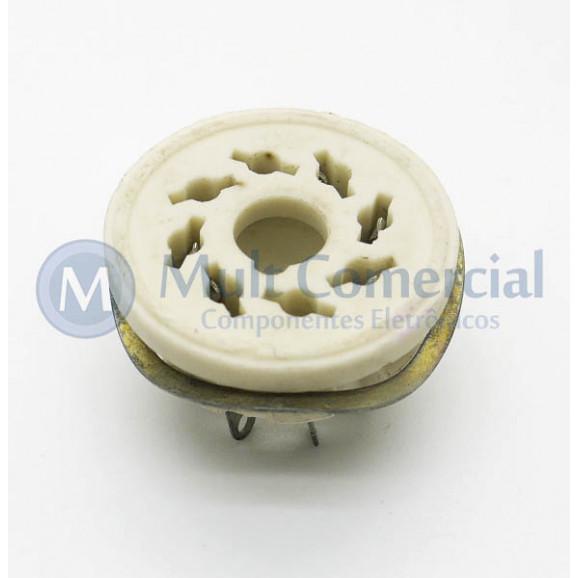 Soquete para Válvula de 8 Pinos (Octal) Cerâmico com anel de Fixação (Solda Fio) - 8PINS