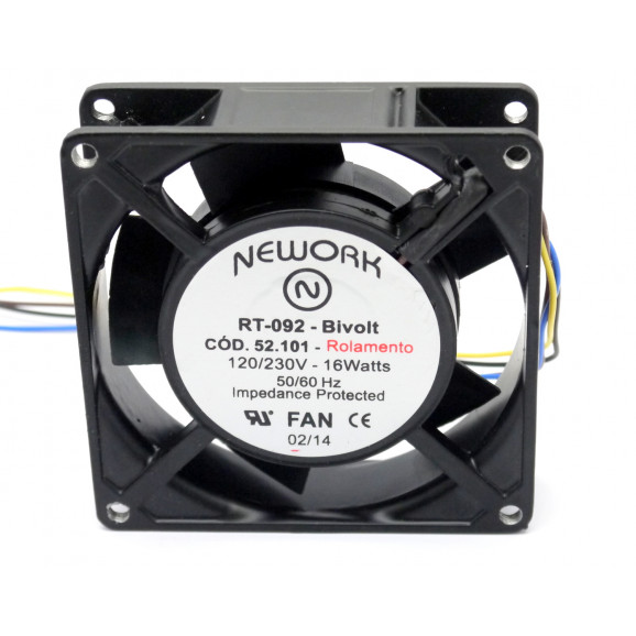 Microventilador Cooler RT-092 Bivolt 120/230VDC  16 Watts (92x92x25mm) Rolamento - 52.101 - Nework