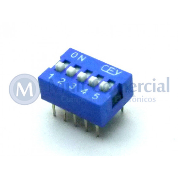 Chave Dip Switch 180° 5 Vias DS1040-5BN - Connfly