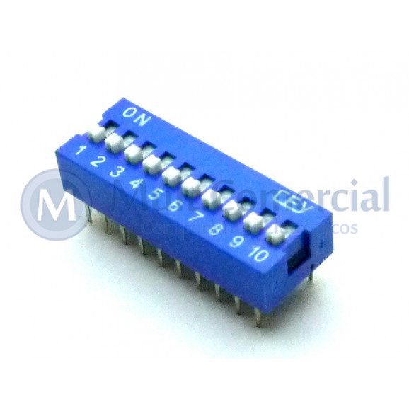 Chave Dip Switch 180° 10 Vias DS1040-10BN - Connfly