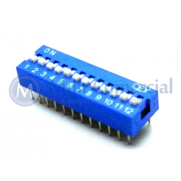 Chave Dip Switch 180° 12 Vias DS1040-12BN - Connfly
