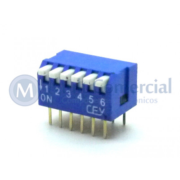 Chave Dip Switch Piano 90° 6 Vias DS1040-6BT - Connfly