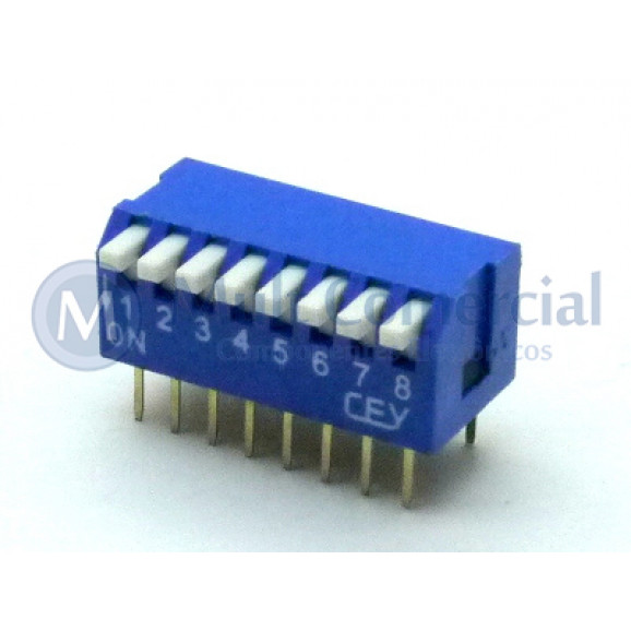 Chave Dip Switch Piano 90° 8 Vias DS1040-8BT - Connfly