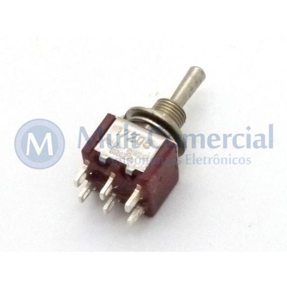 Interruptor de Alavanca Metálica Bipolar Solda Fio 5A 17.205 (LIGA)/DESLIGA/(LIGA) Momentânea - Margirius