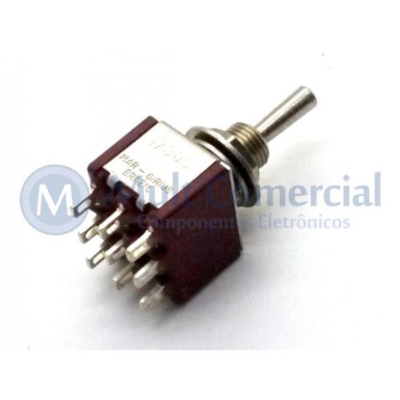 Interruptor de Alavanca Metálica Tripolar Solda Fio 5A 17.305 (LIGA)/DESLIGA/(LIGA) Momentânea - Margirius