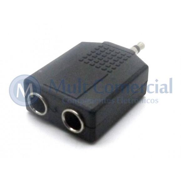 Plug adaptador P10 Fêmea Mono Duplo para P2 Macho Mono -  PT-003