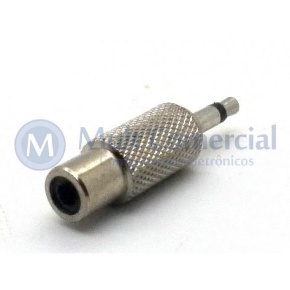 Plug adaptador RCA Fêmea Niquelado para P2 Mono Macho - JL26047