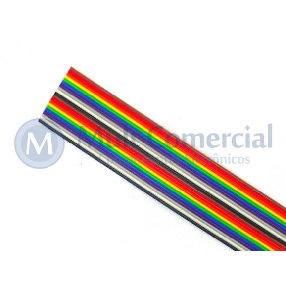 Flat Cable Colorido 28AWG  20 Vias DS-1058-20M28 - Rolo com 30 Metros