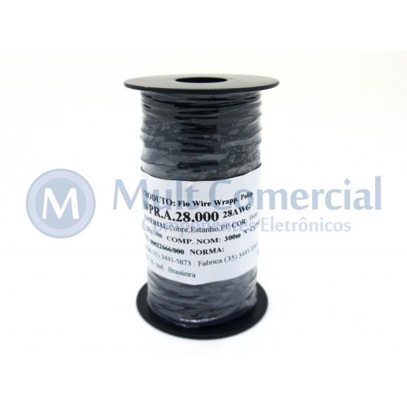 Fio Wire Wrap 28AWG Preto Rolo com 300 Metros - Almak