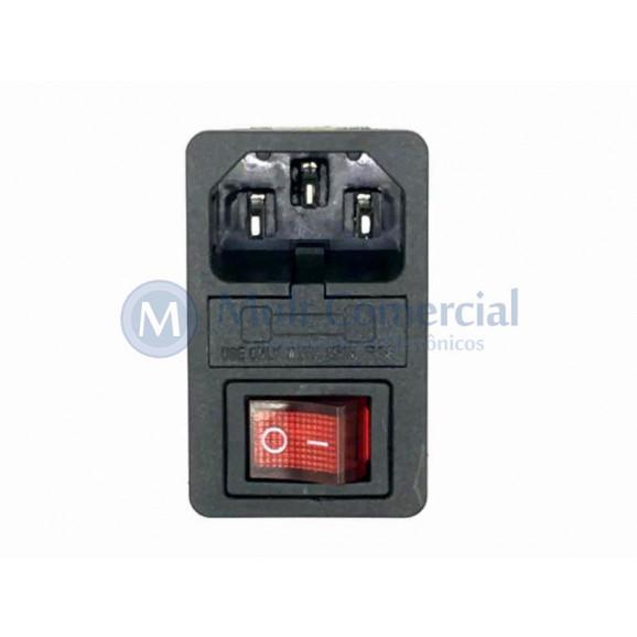 Tomada AC Macho Com chave Liga e desliga e porta fusível para montagem em Painel - JL48050 - Jiali