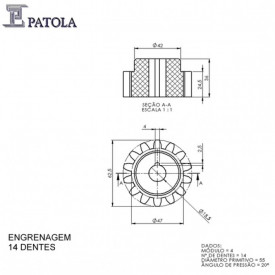 Engrenagem 14 Dentes - Patola