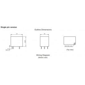 Relé para uso geral 12Vdc 20A SPDT 1 contato reversível HF152F/012-1ZS