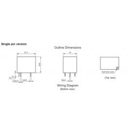 Relé para uso geral 24Vdc 20A SPDT 1 contato reversível HF152FD/24-1ZS