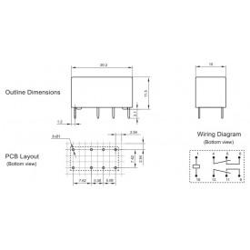 Relé para uso geral 5Vdc 2A DPDT 2 contatos reversíveis HFD27/005-S