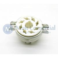 Soquete para Válvula de 8 Pinos (Octal) Cerâmico com anel de Fixação (Solda Fio) - 8PINB