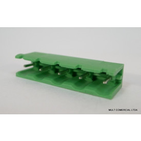 Conector Verde Multipolar STLZ960.09V Macho 180º (Vertical) de 9 vias - Passo 7,62mm - Phoenix Mecano