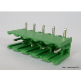 Conector Verde Multipolar STLZ950.06H Macho 90º (Horizontal) de 6 vias - Passo 5,08mm - Phoenix Mecano