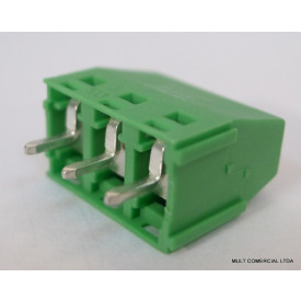 Conector Verde Multipolar AKZ350.03 Fixo de 3 vias - Passo 5,08mm - Phoenix Mecano