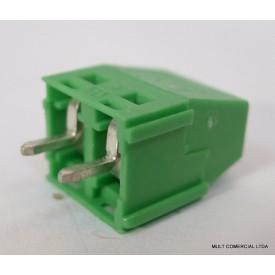 Conector Verde Multipolar AKZ350.02 Fixo de 2 vias - Passo 5,08mm - Phoenix Mecano