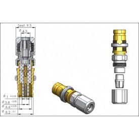 Conector Spinner IEC 169-13 Tipo 1.6/5.6 Fêmea Reto Cabo Painel Prensa Cabo 0.4/2.5 - 1425 - Gav 62 - KLC