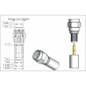 Conector SMA Macho Reto Cabo Crimpagem RG/RGC-58 - 3024 - Gav 30 - KLC