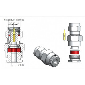 Conector SMA Macho Reto Prensa Cabo RG 174 - 3025 - Gav 28 - KLC