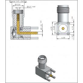 Conector SMA Fêmea Angular PCI Distância Centro Pinos 5,08mm - 3046 - Gav 35 - KLC