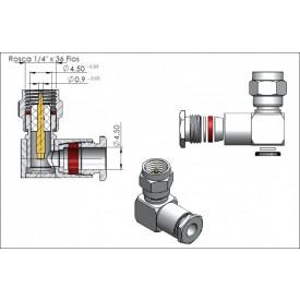 Conector SMA Macho Angular Prensa Cabo 0.4/2.5 - 3089 - Gav 32 - KLC