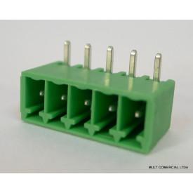 Conector Verde Multipolar STL1550.05GH Macho 90º de 5 vias com as laterais Fechadas - Passo 3,5mm - Phoenix Mecano