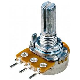 Potenciômetro 16mm Log A50K Ω eixo estriado com 20mm - A50KL20KC