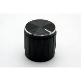 Knob de alumínio para potênciometro de eixo estriado - A17x17 - Preto