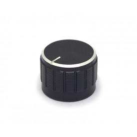 Knob de alumínio para potenciômetro de eixo estriado - A23x17 - Preto