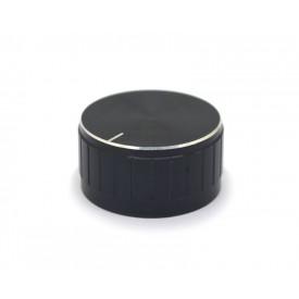 Knob de alumínio para potenciômetro de eixo estriado - A30x17 - Preto