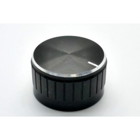 Knob de alumínio para potênciometro de eixo estriado - A30x17 - Preto