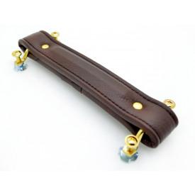 Alça para Amplificador Sintética Marrom 20cm com Cavalete Dourado