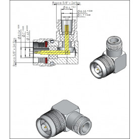 Adaptador N 50 OHMS Macho X Fêmea Angular - CA-6 - Gav 59 - KLC