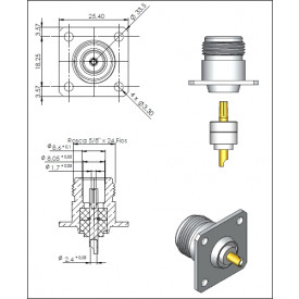 Conector N 50 OHMS Fêmea Reto Painel Base Quadrada 25,40mm Furo Base 3,3mm - CF-2 - KLC - Gav - 17