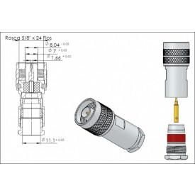 Conector N 50 OHMS Macho Reto Prensa Cabo RG 213 - CM-1 - Gav 40 - KLC