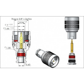 Conector N 50 OHMS Macho Reto Prensa Cabo RG/RGC-58 - CM-3 - Gav 16 - KLC