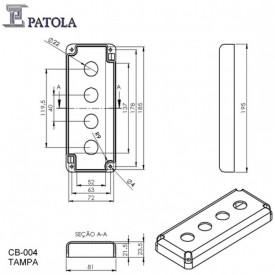 Caixa Com Furo  Para Quatro  Botoeiras CB-004 - Preto - Patola