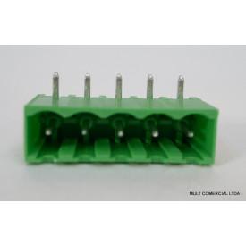 Conector Verde Multipolar STLZ950.03GH Macho 90º de 3 vias com as laterais Fechadas - Passo 5,08mm - Phoenix Mecano