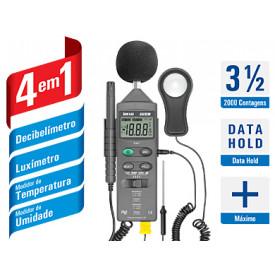 Medidor 4x1 - HTM-401 - Decibelímetro, Luxímetro, Medidor de Temperatura e Umidade